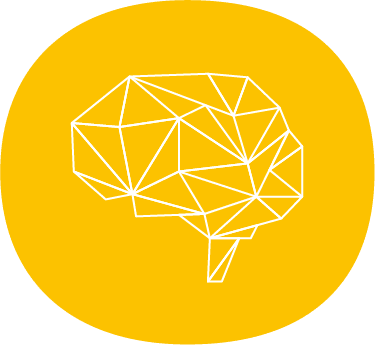 abstract brain icon white lines on yellow background
