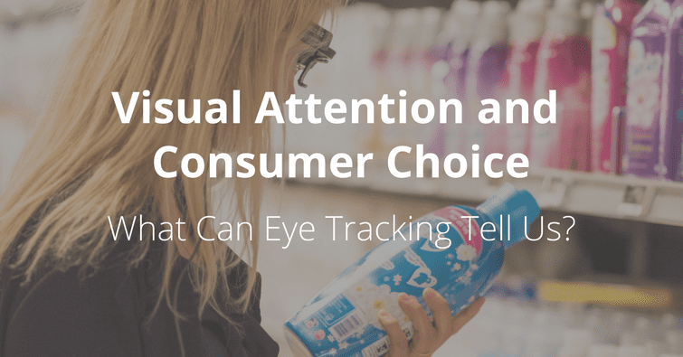 woman in a supermarket holding a bottle of clothes detergent in front of a shelf wearing eye tracking glasses