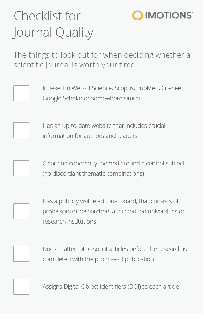 top scientific journals checklist