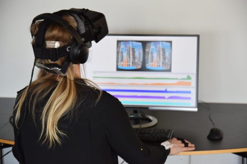 virtual reality rollercoaster and EEG headset