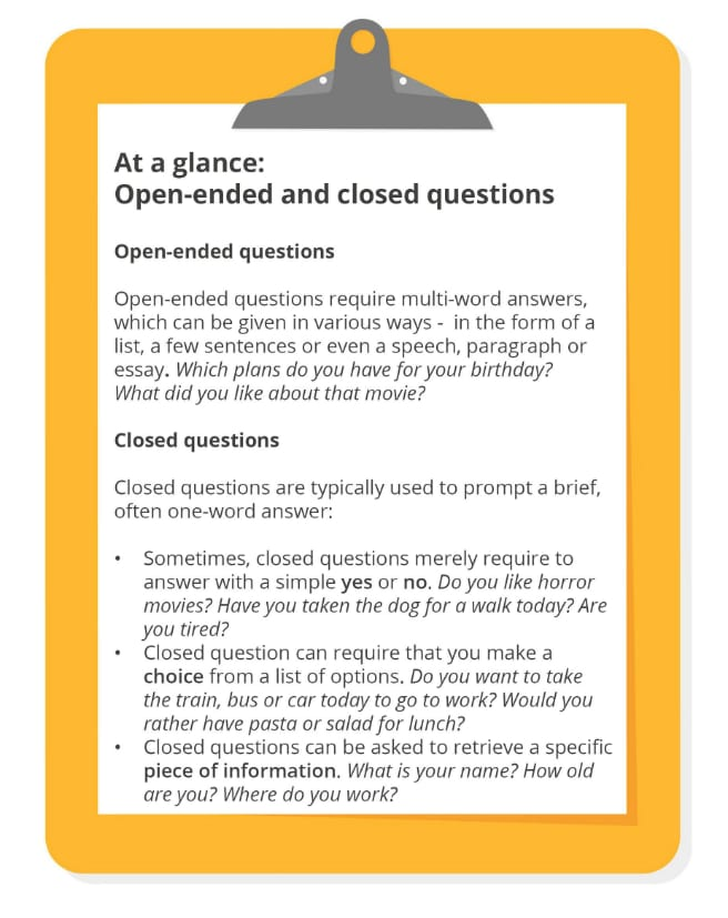 Open and closed questions overview (1)