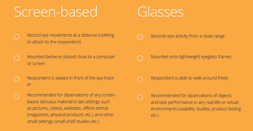 eye tracking screen-based vs. glasses