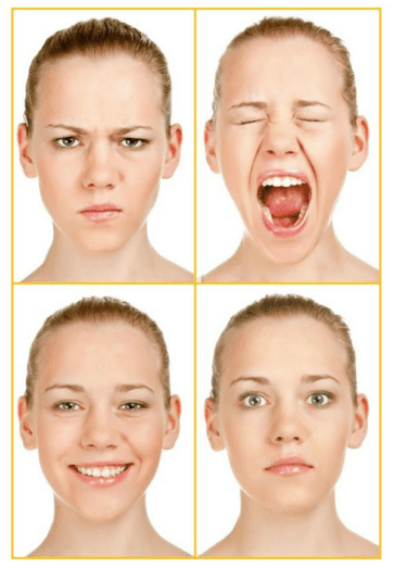 4 different facial expressions