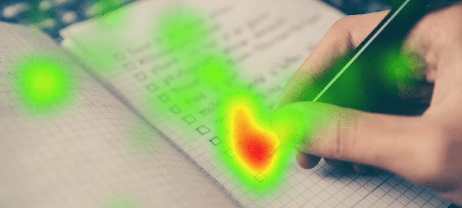 heat map on screen while writing