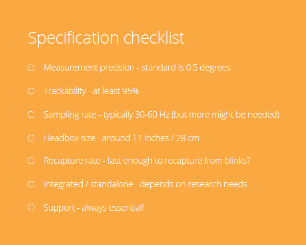 eye tracking specification checklist