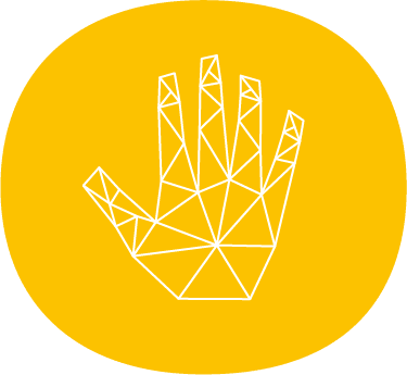 hand icon white lines with yellow background
