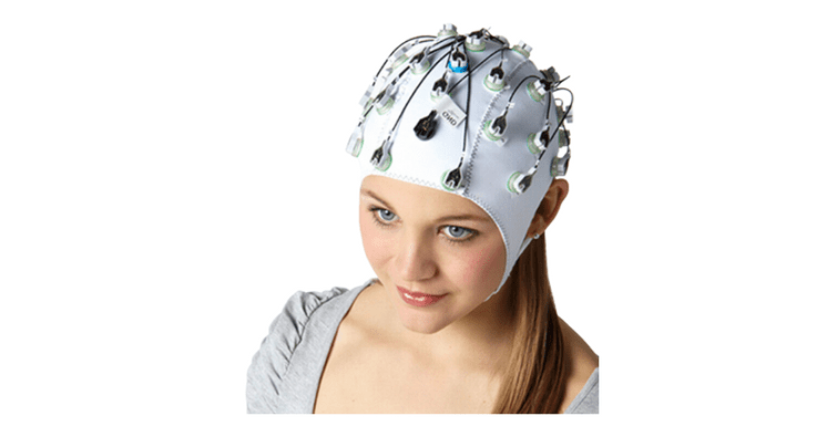 Brain Products actiCHamp girl head white background