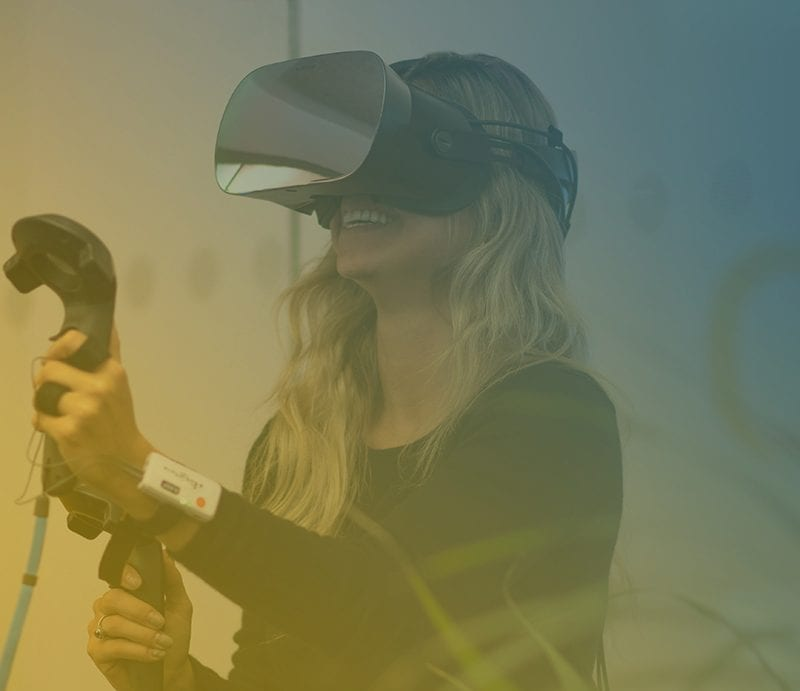 Girl using Varjo VR device