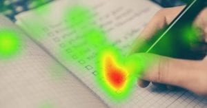 Eye tracking heat map on notebook