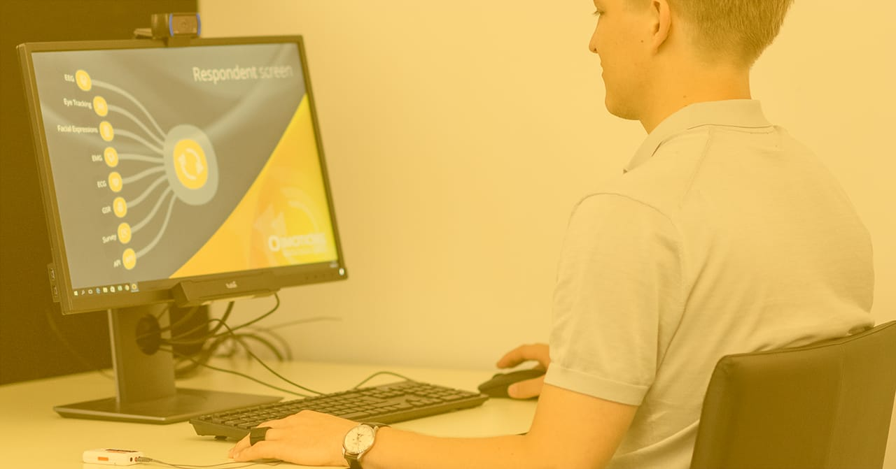 Man using iMotions software and GSR device