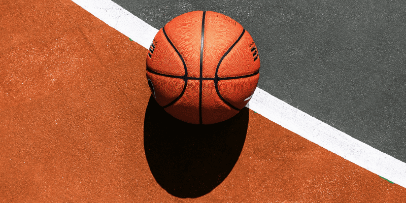 basketball lying on a court