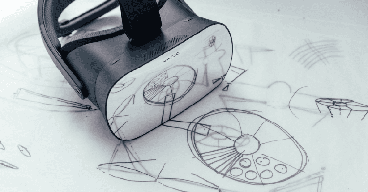 Varjo VR headset reflecting drawings on paper