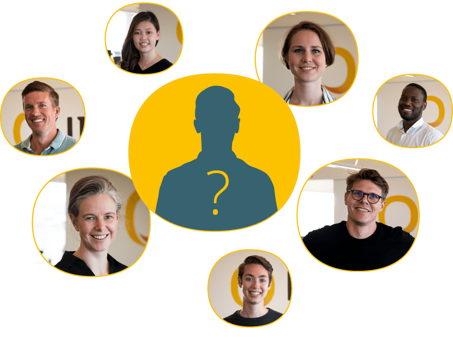 Different headshot photos of employees and icon of a potential new employee at the center
