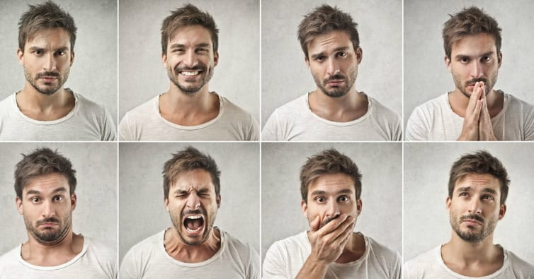 man making 8 different facial expressions