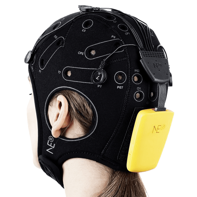 Closeup of woman wearing eeg headset view from behind on transparent background