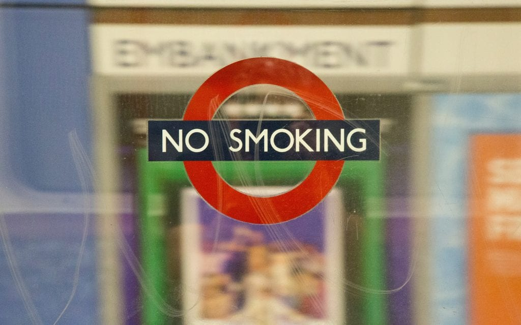 no smoking sign underground