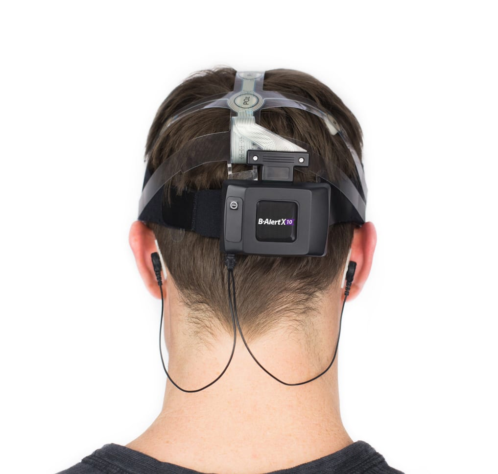 ABM B-Alert X10 EEG headset on model