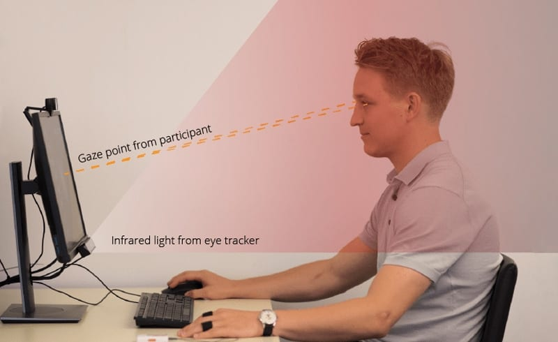 participant using the eye tracking webcam in front of the screen