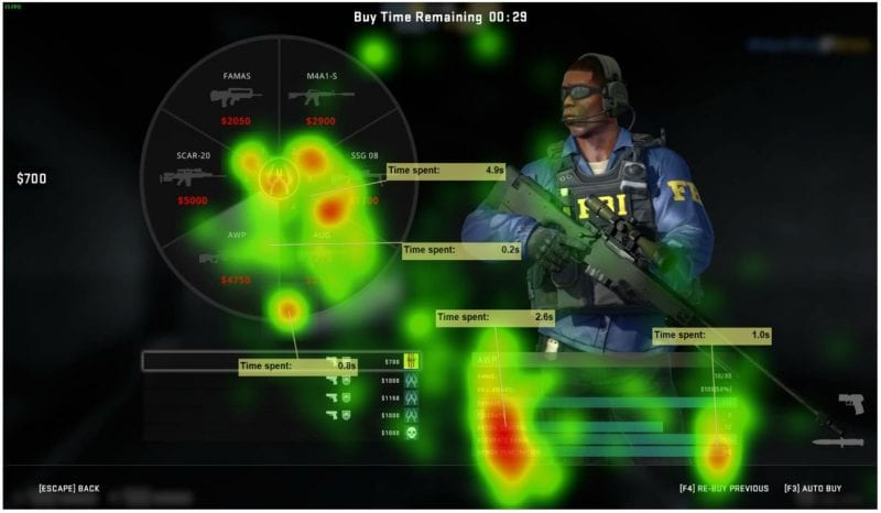 Gaming biometric Heat Maps