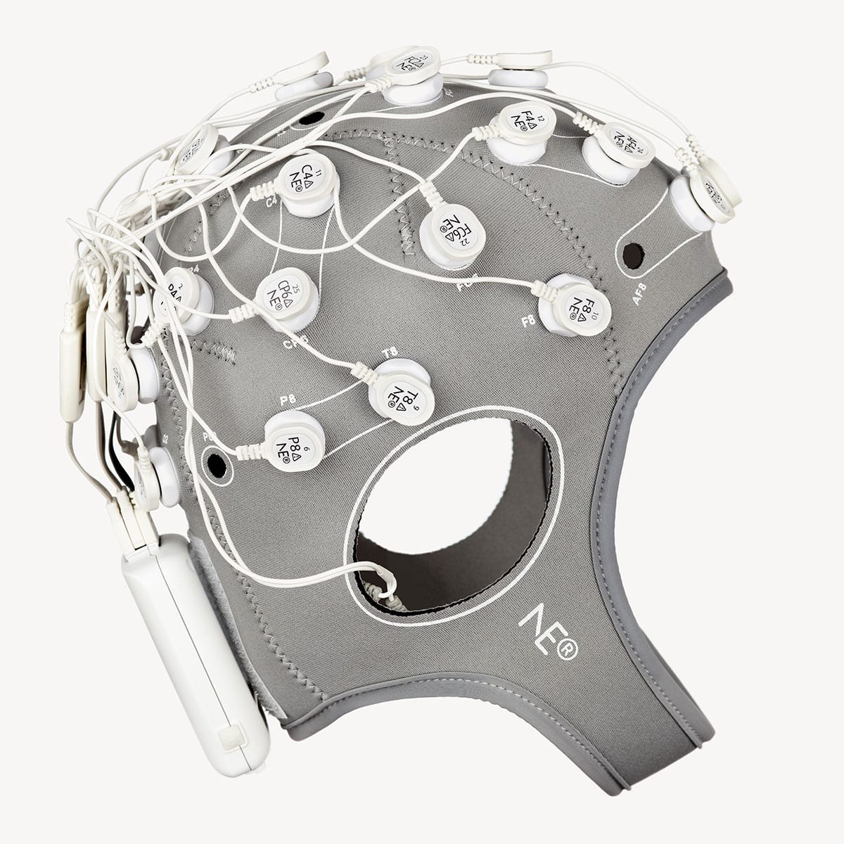 Neuroelectrics Enobio 32 on girl's head profile view